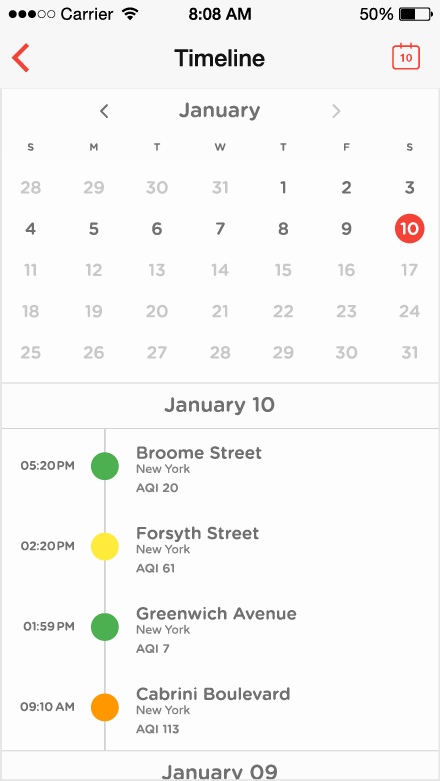 Airbient project - Timeline datepicker
