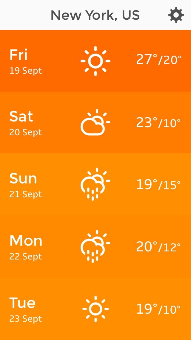 Dew project - Week forecast on mobile