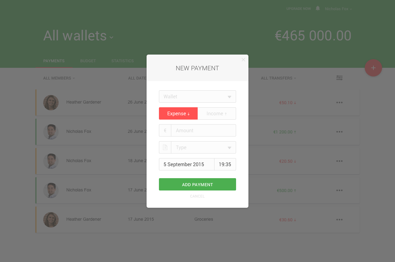 Financial keeper project  - Adding payments