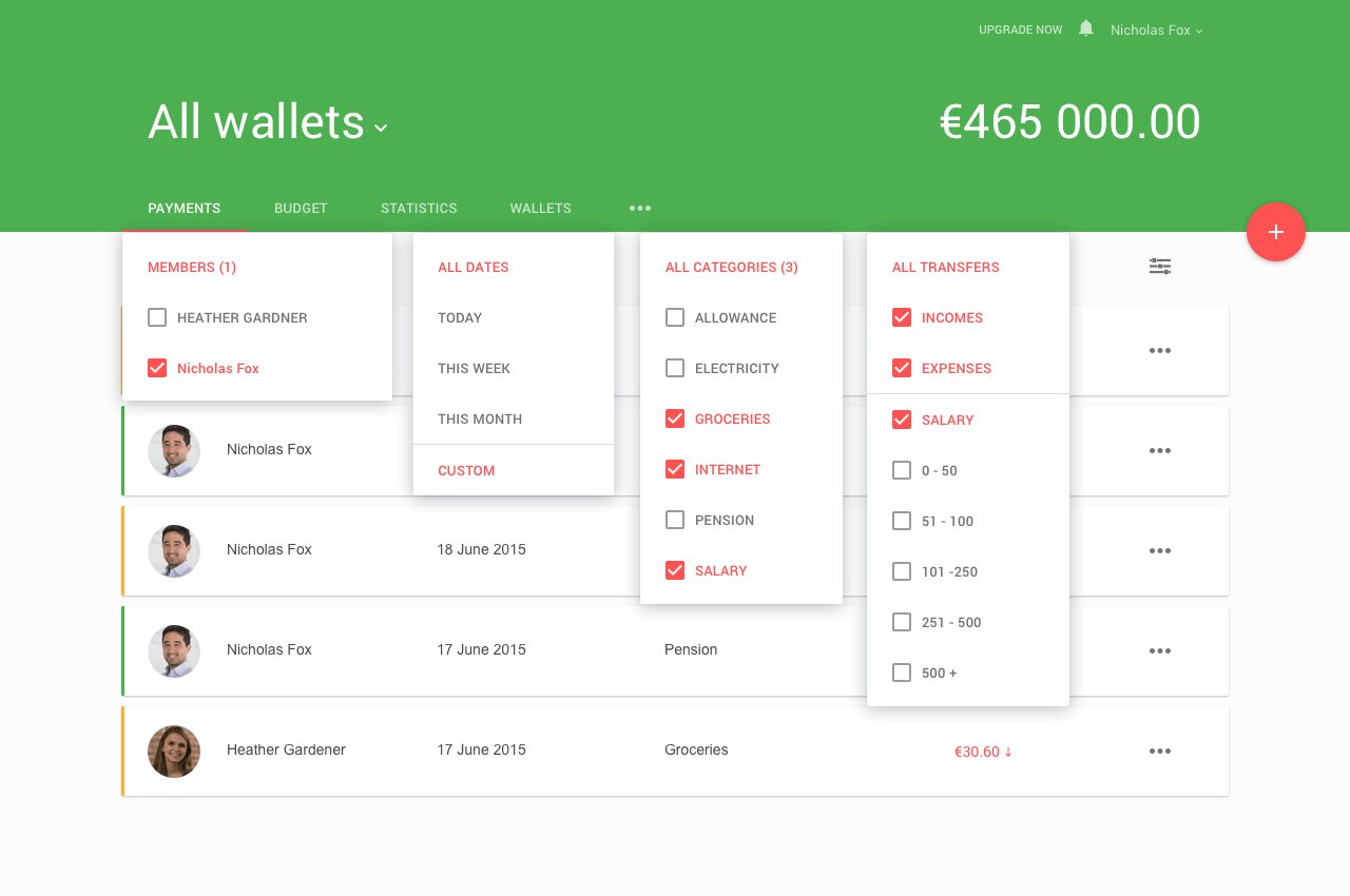 Financial keeper project  - Payment filters
